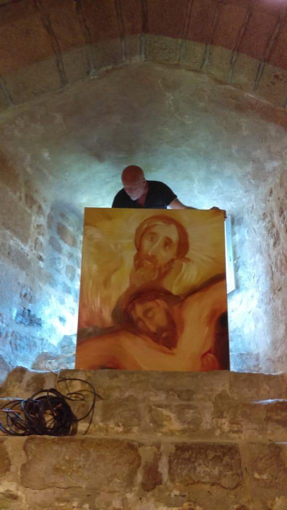 Installation de l'exposition de La Chaise-Dieu
